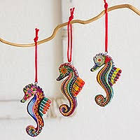set of 6 ceramic seahorse ornaments handmade in guatemala