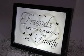 Home Decor Sayings by Friends Become Our Chosen Family Sparkle Word Art Pictures