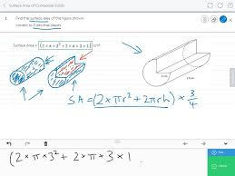 mathspace surface area of composite solids