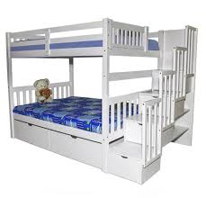 SCAMilan Full Over Full Bunk Bed With Stairs White Furtado - Full bunk bed with stairs