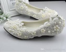 sale lace wedding shoes white princess pearls flat low heel