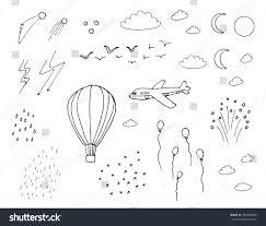 air balloon plane moon sun stock vector 289849850 shutterstock
