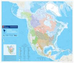 North America Continent Map by North America Watersheds
