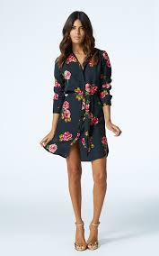 mini shirt dress in rose print silkfred
