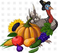 thanksgiving day still with fruit vegetables turkey