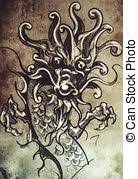 pictures of japanese dragon head tattoo sketch handmade design