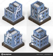 types of houses blue residential building in a small isolated platform raster 3d