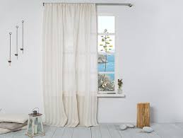 Striped Linen Curtains Linen Curtain Striped Linen Curtain In Beige By Linenhomedecor