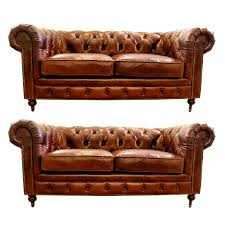 Small Leather Chesterfield Sofa Pair Love The Smoke Lounge Look - Small leather sofas for small rooms