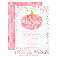 girl baby shower invitations watercolor pumpkin glitter fall girl baby shower invitations print