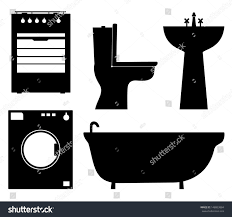 household furniture set black isolated contour silhouettes household stock vector