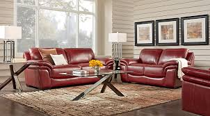 Cindy Crawford Leather Living Rooms  Sets - Red leather living room set