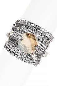 swarovski crystal leather bracelet images Sara designs swarovski crystal pendant beaded leather wrap jpg