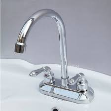 Dual Faucet Sink Designed Two Holes Two Handles Deck Mounted Bathroom Sink Faucet