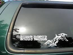 hunting truck decals amazon com rabbit hunter die cut vinyl window decal sticker for