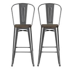Black Metal Bar Stool Amazon Com Dhp Luxor Metal Counter Stool With Wood Seat And