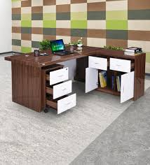 Buy Marvel Boss Table in High gloss Walnut Finish With Drawers by