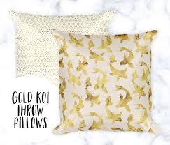 koi throw pillow pillow cases gold home decor polka dot