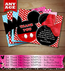 Mickey Mouse Invitation Cards Printable You Choose Mickey Mouse Thank You Card For Twins Or Siblings