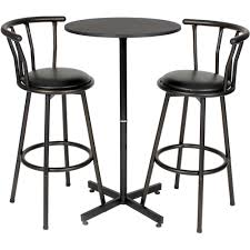 Iron Table Ls Roundhill Nor Hill Black Metal Height Bar Table Set With