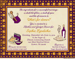 menards bridal registry kitchen and gadget shower invitation set plum fall yellow