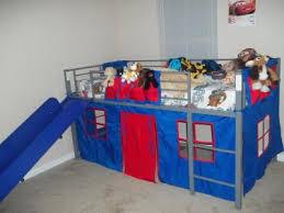 Boys Twin Loft Bed With Slide Grey And Blue Walmartcom - Walmart bunk bed