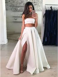 white lace prom dress two strapless floor length white lace prom dress with split