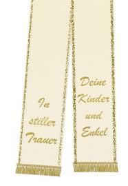sprüche trauerschleife trauerband bedruckt 125mm x 75cm creme preiswert kaufen
