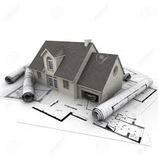 House With Garage 3d Rendering Of A House With Garage On Top Of Blueprints Stock