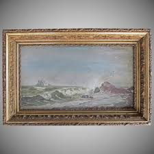 oil painting seascape marine schooner ship victorian 1860 s gesso wood frame