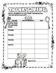thanksgiving meal planning and budgeting math activity grocery