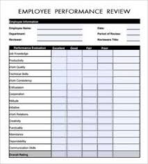 free employee performance evaluation form template work