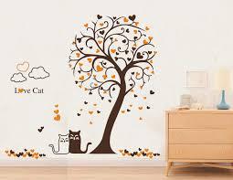 heart tree and cat wall sticker