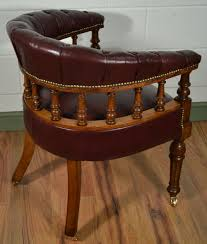 Antique Captains Chair Victorian Oak Captains Chair With Antique Burgundy Leather