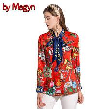 snake print blouse by megyn 2017 fashion designer runway blouses bow
