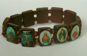 religious bracelets 1 x wood rosary bracelet with colorful religious icons