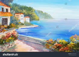 oil painting house near sea colorful stock illustration 287446364