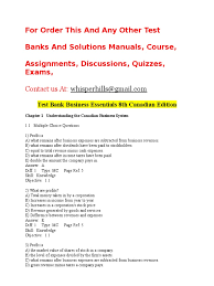 test bank business essentials 8th canadian edition supply and