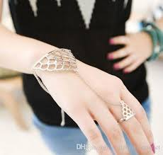 bracelet design with ring images Hot women jewelry stylish fish scale metal hand chains bracelet jpg