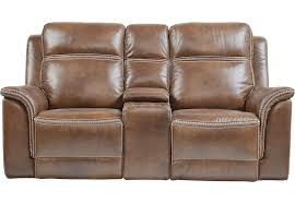 Rooms To Go Sleeper Loveseat Barcaccia Brown Leather Power Reclining Console Loveseat Leather