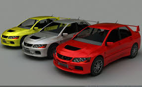 mitsubishi evo 7 custom lancer evolution 3d models for download turbosquid