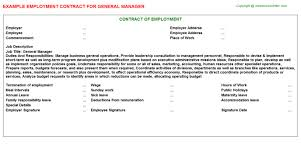 General Contractor Job Description Resume by General Manager Employment Contracts