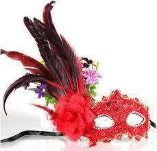 leather masquerade masks leather big plume flower mask party masquerade masks