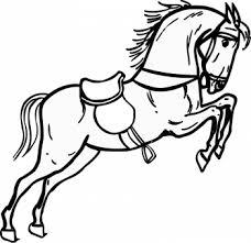 Coloriage gratuit dun cheval sellé qui saute un obstacle