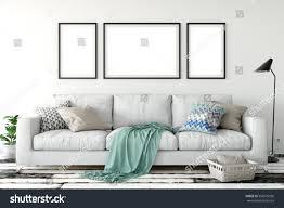 mock posters living room interior interior stock illustration