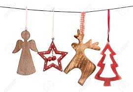 old vintage christmas decorations hanging on string isolated