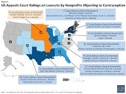 federal circuit court map contraceptive coverage at the supreme court zubik v burwell does