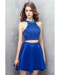 bling sequins royal blue two pieces satin short prom dress yh0106
