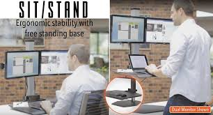 Sit Stand Office Desk by Amazon Com Stand Steady Winston Workstation Dual Monitor Mount