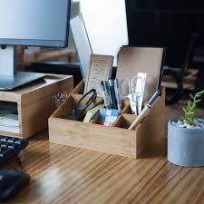 bamboo office stationary storage box eco natural wood desk